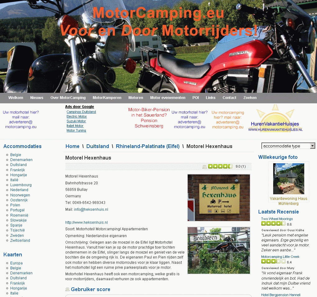 Screenshot van Accommodatie op MotorCamping.eu